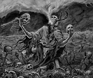 black and white, bones, and dark art image