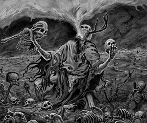 black and white, bones, and creepy image