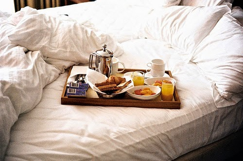 breakfast, bed, and food image