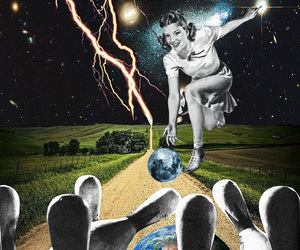 bowling, Collage, and collage art image