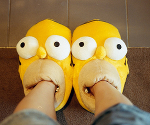 simpsons, homer, and slippers image