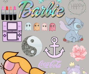 barbie, Collage, and gray image