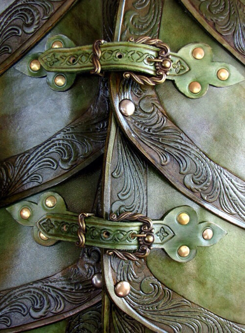 green, leather, and tooled leather image