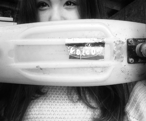 black&white, eyes, and penny board image