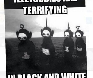 black n white and teletubbies image