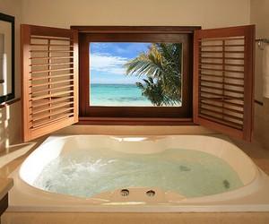luxury, bath, and beach image