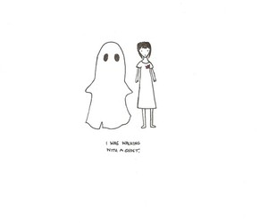 drawing, ghost, and walking image