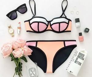 bikini, glass, and sunglasses image