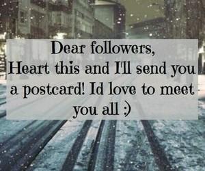 followers, hello, and postcard image