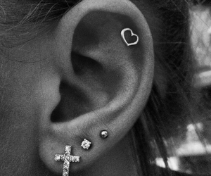 piercing, earrings, and heart image