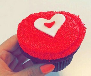 cupcakes, heart, and food image