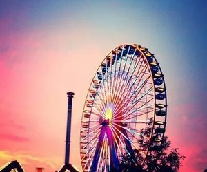 colors, ferris wheel, and sky image
