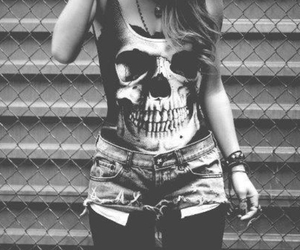 skull, black and white, and cool image