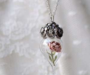 flowers, necklace, and rose image