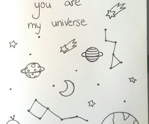 doodle, universe, and drawing image