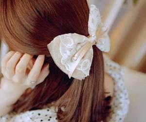 girl, bow, and hair image