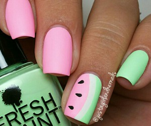 green, watermelon, and nail art image