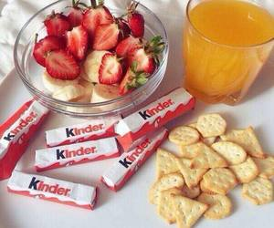 food, kinder, and strawberry image