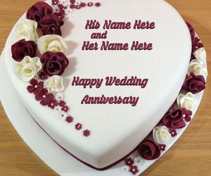 Heart wedding anniversary cake name picture anniversary cakes