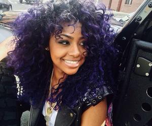 purple, hair, and justine skye image
