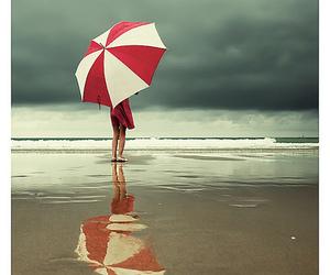 umbrella, beach, and red image