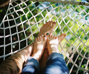 couple, love, and feet image