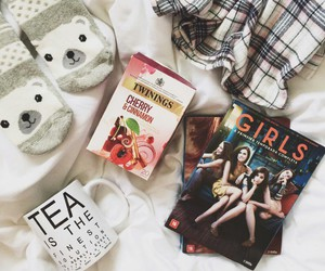 bed, chocolate, and girls image