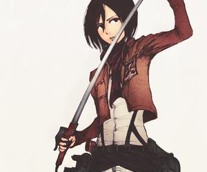 anime girl, military, and mikasa ackerman image