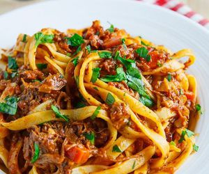 food, pasta, and bolognese image