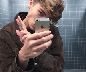 boy, iphone, and pale image