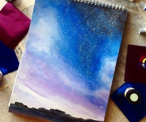 art, sky, and stars image