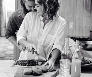 black and white, cooking, and couple image