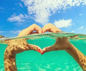 summer, heart, and water image