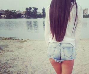 girl, hair, and shorts image