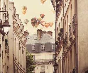air, balcony, and balloons image