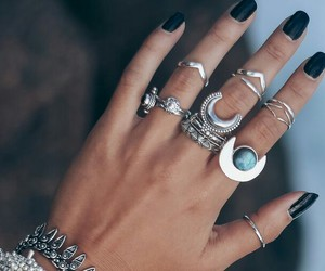rings, boho, and hand image