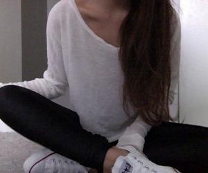 girl, converse, and hair image