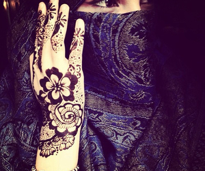 henna, girl, and hijab image