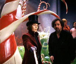 tim burton, johnny depp, and charlie and the chocolate factory image