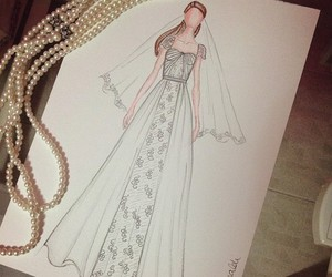 drawing, sketch, and dress image