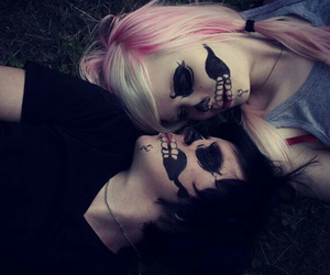 couple, emo, and skull image