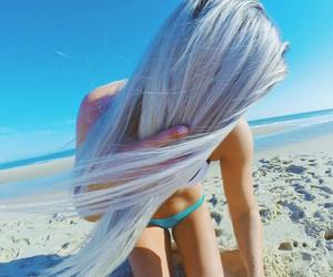 beach, bikini, and blonde image