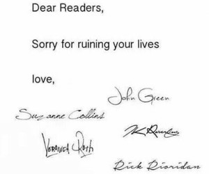 john green, veronica roth, and suzanne collins image