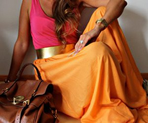 fashion, orange, and pink image