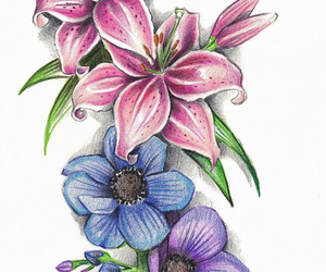 blue, pink, and tattoo image