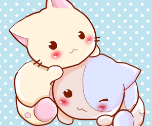 cat, kawaii, and pink image