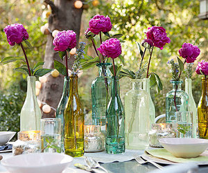 bottles, purple, and flowers image
