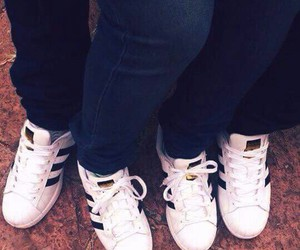 white adidas, same shoes, and adidas superstar image