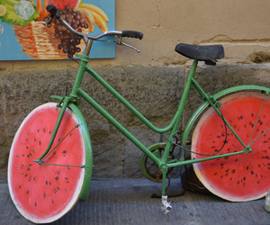 watermelon, bike, and green image