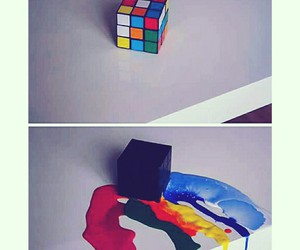 art, colours, and cube image